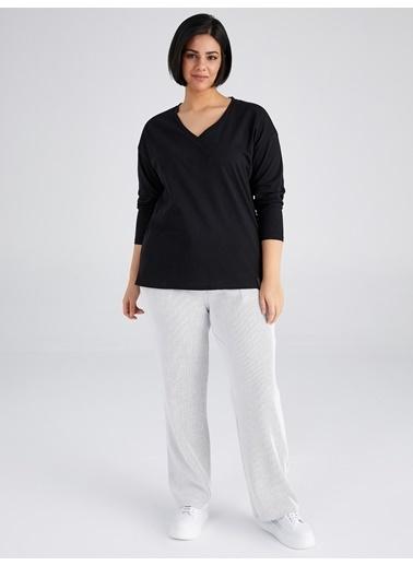Faik Sönmez  V Yaka Uzun Kol T-Shirt 61823 Siyah